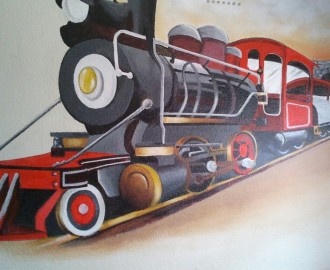 wall mural art train theme