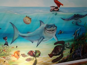 wall mural shark theme